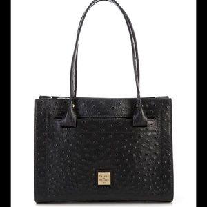 Dooney Bourke Ostrich Janine Top Zip Satchel Bag